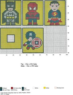 cross-stitch superhero coasters