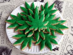 I don't smoke and I'm not into that scene, but my friend Brandy and her boy would probably love a batch of these cute little pot leaf shaped sugar cookies!