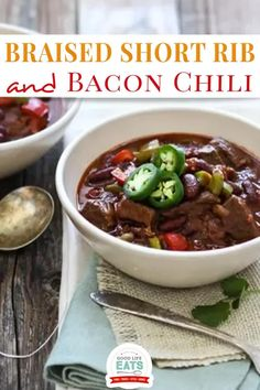 """This Braised Short Rib and Bacon Chili has chunks of tender beef short ribs, peppers, and kidney beans in a thick chili base. Comfort food at its finest! This braised short rib and bacon chili has chunks of tender beef short ribs, peppers, and kidney beans in a thick chili base. I was pleasantly surprised that Madeline declared this bacon chili """"so good,"""" and """"better than chicken!"""" It turned out a little hotter than I normally want so I wasn't expecting her to like it. 