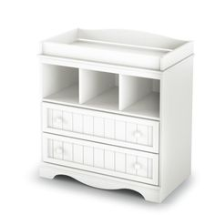 This White Wood Baby Diaper Changing Table with 2 Drawers offers you country-style changing table in a Pure White finish. Drawers and open storage compartments keep everything you need to care for your little one within easy reach. Changing Table With Drawers, White Changing Table, Best Changing Table, Changing Table Topper, Changing Table Dresser, Changing Station, Kids Room Furniture, Toddler Furniture, Baby Nursery Furniture