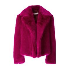 DRIES VAN NOTEN Rimbald Faux Fur Cropped Jacket (84.805 RUB) ❤ liked on Polyvore featuring outerwear, jackets, coats, coats & jackets, fur, pink, purple jacket, cropped jacket, dries van noten jacket and fake fur jacket