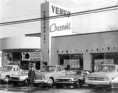 Vintage Trucks Glory Days: Vintage, Pre-Carpocalypse Auto Dealerships - Do you remember the experience of visiting your friendly neighborhood Chevrolet dealership 50 years ago? Well, grab your hula hoops and check out our gallery of the past below. Chevrolet Dealership, Chevrolet Camaro, Yenko Camaro, 1968 Camaro, Chevrolet Trucks, Gmc Trucks, General Motors, Classic Chevy Trucks, Classic Cars