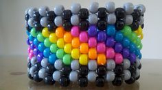 diagonal rainbow Kandi Cuff from StephanieMalesic on etsy $5