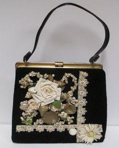 Black Caron of Huston Handbag Hand Decorated Roses by retrogal415
