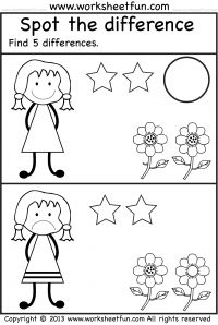 Same different and other worksheets for kinder
