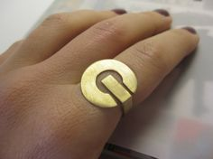 On-Off ring- Statement Ring- Gold Plated- Adjustable Ring- PC button- Wide ring- Gift for her- Gold jewlery- Gold accesoires
