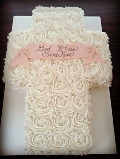Rose Baptism Cross Cake