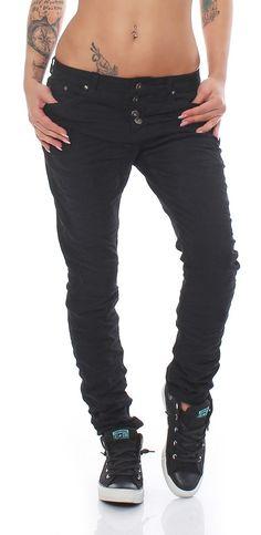 SKUTARI Luxuriöse Designer Denim Stretch Boyfriend Baggy Jeans Knitter Look lange offene Knopfleiste: Amazon.de: Bekleidung