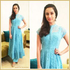 Spotted: Shraddha Kapoor in a net embroidered jacket and palazzo set by Anita Dongre.