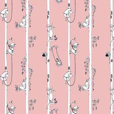 Pattern, Moomin, art, pink,