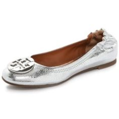 Tory Burch Reva Mirror Crackle Ballet Flats - Silver/Pewter - product - Product Review