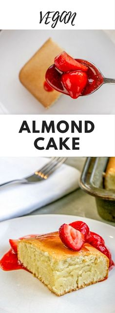 Almond Cake - This vegan cake is a quick and delicious dessert for busy days: mix all ingredients in a bowl bake for 45 minutes and enjoy the best almond cake youll ever taste! Its an easy almond cake that you can whip up in minutes! Healthy Vegan Dessert, Vegan Dessert Recipes, Vegan Treats, Easy Cake Recipes, Vegan Foods, Vegan Dishes, Dairy Free Recipes, Baking Recipes, Whole Food Recipes