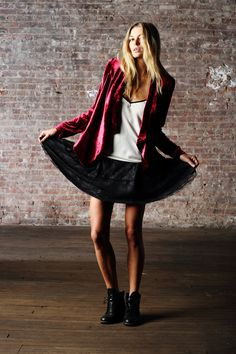 PENCEY. Drape Blazer in Burgundy Velvet Piped Camisole in Ivory Pleated Skirt in Black Lace