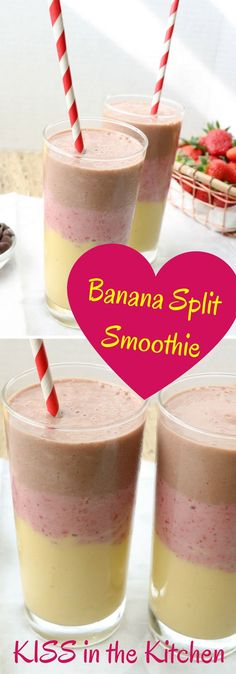 Easy layered smoothie that tastes like a banana split in a glass!