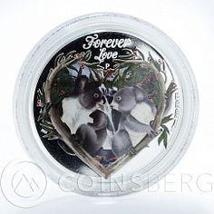 Tuvalu, 50 Cents, Forever Love, Koala, 1/2 Oz Coloured Silver Coin 2012