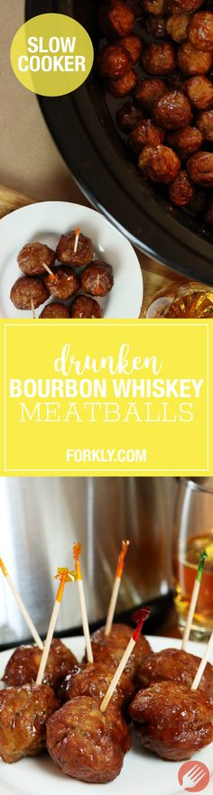 Crockpot Drunken Bourbon Whiskey Meatballs - http://m.forkly.com/recipes/crockpot-drunken-bourbon-whiskey-meatballs/