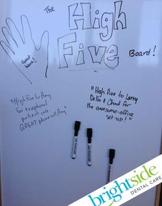 "We use a whiteboard in the staff room as a ""High Five"" board so people can thank eachother for the little nice things they do throughout the day! #BrandonOffice #motivation #inspiration"
