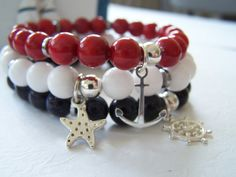 sailor's bracelets:  coral, jade stone, blue sand stone and silver