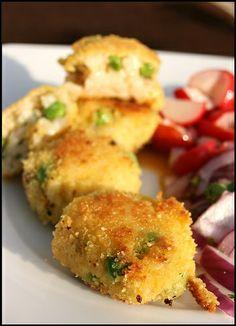 Carpaccio de bœuf et salade d'artichauts – Risotto cakes aux petites crevettes grises et petits-pois, salade de radis | Chez Becky et Liz, blog de cuisine anglaise