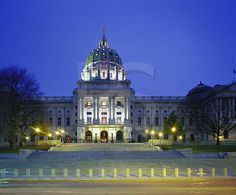 Pennsylvania State Capitol, At Dusk The Places Youll Go, Places Ive Been, Harrisburg Pennsylvania, Keystone State, Us Capitol, Home Of The Brave, Land Of The Free, Capitol Building, Beautiful Buildings