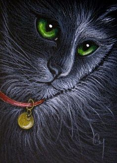 Art: BLACK CAT - RED COLLAR by Artist Cyra R. Cancel
