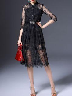 Buttoned Lace Midi Dress