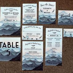 Watercolor Mountain Wedding Invitation Response Card Invitation ...