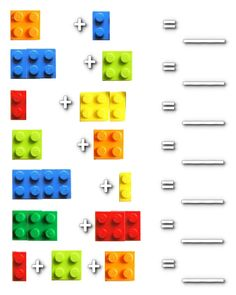Lego Math - make a + and = sign and place between lego blocks. Make your own lego equations, then take photos of it and print then place into photo album for kids to work out. Lego Math, Math Classroom, Kindergarten Math, Fun Math, Teaching Math, Lego Activities, Math Games, Counting Games, Math Worksheets