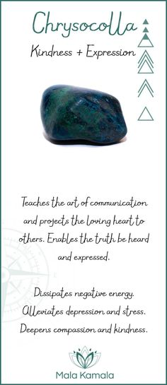 Pin To Save, Tap To Shop The Gem. What is the meaning and crystal and chakra healing properties of chrysocolla? A stone for kindness and expression. Mala Kamala Mala Beads - Malas, Mala Beads, Mala Bracelets, Tiny Intentions, Baby Necklaces, Yoga Jewelry, Meditation Jewelry, Baltic Amber Necklaces, Gemstone Jewelry, Chakra Healing and Crystal Healing Jewelry, Mala Necklaces, Prayer Beads, Sacred Jewelry, Bohemian Boho Jewelry, Childrens and Babies Jewelry.
