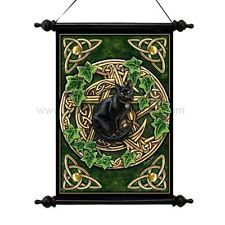 Black Cat and Pentagram with Ivy Art Scroll!