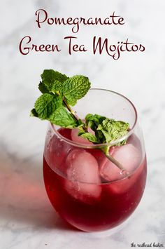 Pomegranate green tea mojitos are a Moroccan twist on a Cuban cocktail. The classic mint-and-lime drink gets an extra flavor twist from pomegranate and green tea. #ProgressiveEats