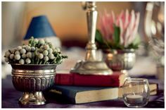 Silver Brunea balls are a cool combination together with the Protea as a table decoration. Luxe Wedding, Farm Wedding, Wedding Table, Wedding Ideas, Wedding Vintage, Vintage Silver, Antique Silver, Book Centerpieces, Fishing Wedding