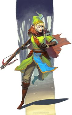 Linkle by DanHowardArt Link Legend of Zelda crossbow ranger leather armor clothes clothing fashion player character npc | Create your own roleplaying game material w/ RPG Bard: www.rpgbard.com | Writing inspiration for Dungeons and Dragons DND D&D Pathfinder PFRPG Warhammer 40k Star Wars Shadowrun Call of Cthulhu Lord of the Rings LoTR + d20 fantasy science fiction scifi horror design | Not Trusty Sword art: click artwork for source