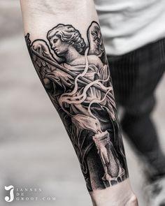 Jannes de Groot Tattoo Realistic Angel Statue Tattoo Candle Tattoo, Belgium Germany, Statue Tattoo, Black Angels, Angel Statues, Forearm Tattoos, Skull, Photo And Video, Instagram