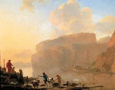 BBC - Your Paintings - Coastal Scene with Crab-Catchers