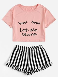 Eye and Letter Top & Ruffle Striped Shorts PJ Set - Summer Outfits Cute Pajama Sets, Cute Pjs, Cute Pajamas, Pj Sets, Cute Lazy Outfits, Trendy Outfits, Summer Outfits, Teen Fashion Outfits, Fashion Models