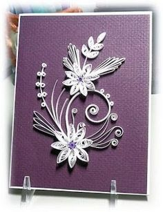 handmade card: Bloomin' Paper by betsy ... purple background with textured paper ... white quilled flowers  ... delightful!