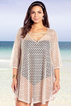Always For Me Crochet Lace Up Plus Size Cover Up Natural
