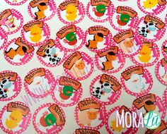 Stickers con animalitos y nombres del anfitrión de la fiesta para marcar sorpresas, rifas o decoración de la fiesta