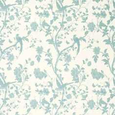 Floral & Bird Print Fabric | Summer Palace Off White/Duck Egg Fabric