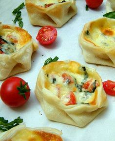 Basil, tomato, and mozzarella in wonton wrappers.