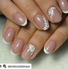 Purple toned instead of pinkmy wedding nails! Maybe add some sparkles on pink Purple toned instead of pinkmy wedding nails! Maybe add some sparkles on pink Cute Nails, Pretty Nails, My Nails, French Nail Art, French Tip Nails, Coloured French Manicure, Bride Nails, Wedding Nails, Purple Nails