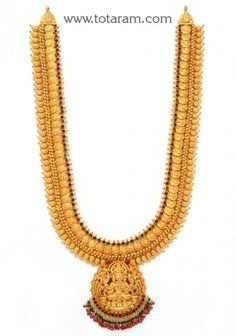 Check out the deal on Gold 'Lakshmi Kasu' Long Necklace (Temple Jewellery) at Totaram Jewelers: Buy Indian Gold jewelry & Diamond jewelry Gold Temple Jewellery, Gold Jewellery Design, Antique Jewellery, Gold Chain Design, Gold Jewelry Simple, Jewelry Model, Gold Bangles, Gold Necklaces, Diamond Jewelry