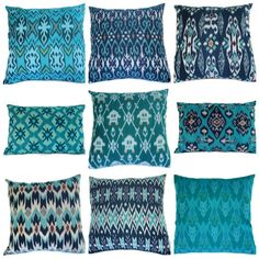 Love these colors and designs -- not sure how to translate them into web design though... (ikat pillow set from ginette1223 on etsy)