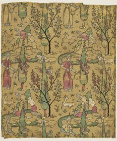 Textile with Design of Wine Bearer in Landscape Iran, century Textiles; textile lengths Silk complex supplementary weft patterning (lampas) 33 x 28 in. Middle Eastern Art, Spider Art, Century Textiles, Islamic Art Calligraphy, Calligraphy Alphabet, Celtic Art, Celtic Dragon, Iranian Art, Graffiti Alphabet