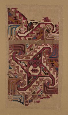 Textile Fragment, Moche-Huari culture, possibly Huamey Valley, north-central coast, Peru; A.D 500 / 1000 The Art Institute of Chicago, Online Collection