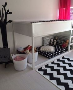 White Ikea Kura Bed for a black and white kids room - DigsDigs Kura Bed, Big Girl Rooms, Boy Room, Kids Rooms, Ikea Kura Hack, Ikea Hacks, White Kids Room, Kids Bunk Beds, Bed Design