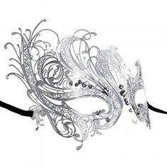 Silver Swan Metal Filigree Laser Cut Venetian Masquerade Mask