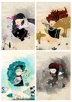krize at Etsy Illustration Art, Illustrations, Digital Prints, Disney Characters, Fictional Characters, Disney Princess, Handmade Gifts, Painting, Animals