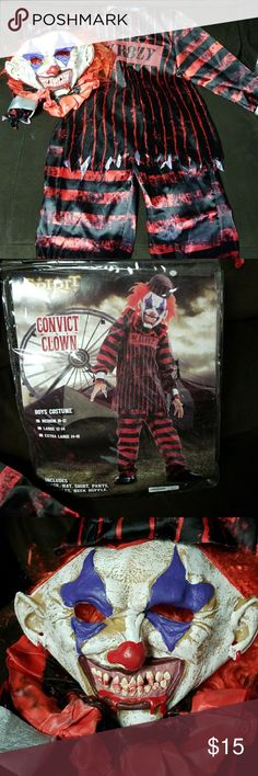 BOYS HALLOWEEN COSTUME Convict Clown. Worn once. This costume is so awesome and scary. My son looked great! Mint condition . Mask, pants, top, collar ruffle, hat and 2 wrist cuffs. Costumes Halloween